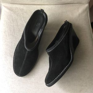 Cole Haan Black Leather Sueded Wedge Mules 9M